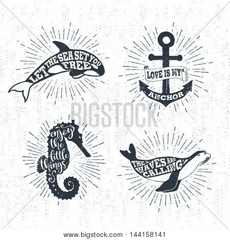Hand drawn textured vintage labels set with killer whale anchor sea horse fur seal vector illustrations and inspirational lettering.