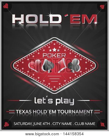 Texas holdem poker tournament poster. Vector illustration with cards symbol. poster