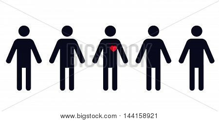 one human figure with red heart in a row of identical standing men - vector illustration