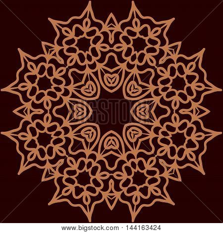 Ornament rosette symmetrical tempalte for adult painting, simply design.