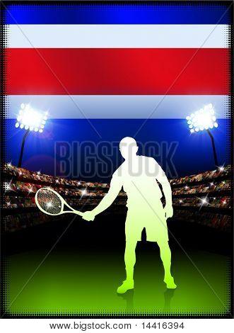 Costa Rica Flag with Tennis Player on Stadium Background Original Illustration