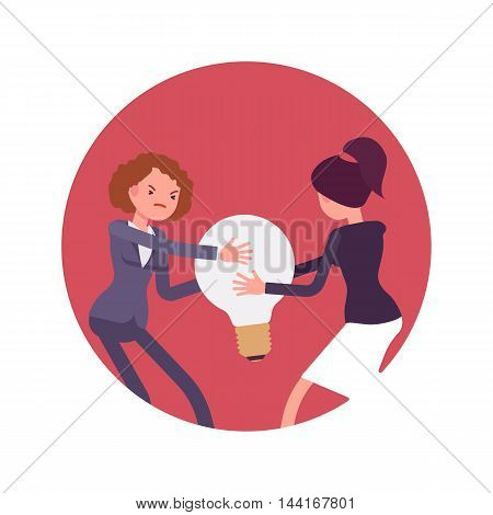 Struggle between women in a formal wear for a lamp bulb against red circle background. Cartoon vector flat-style concept illustration