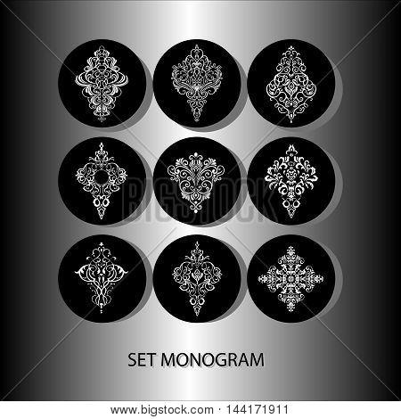 PATTERNS / Doily - set of 9 design elements, wedding pattern, embroidery elements, vector illustration
