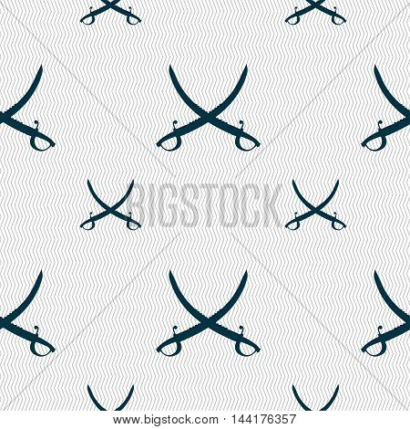 Crossed Saber Sign. Seamless Pattern With Geometric Texture. Vector