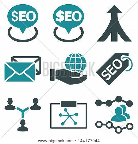 Seo vector icons. Pictogram style is bicolor soft blue flat icons with rounded angles on a white background.
