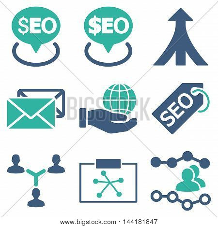Seo vector icons. Pictogram style is bicolor cobalt and cyan flat icons with rounded angles on a white background.