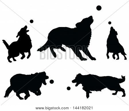 Dogs Playing With Ball is an illustration of five dogs or Golden Retrievers in silhouette jumping for and playing with a ball.