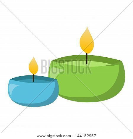 Aroma candle isolated. Spa aromatherapy aroma candle and relaxation aroma candle. Beauty flame relax care aroma candle. Decoration health therapy aroma candle treatment bath natural care. poster