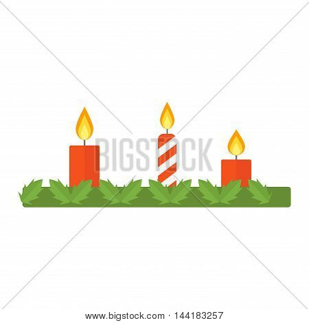 Christmas decoration with candle isolated on white background. Celebration seasonal, tradition christmas candle holiday decoration. Vector christmas candle decorative ornament symbol.