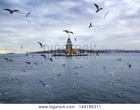 Istanbul Turkey - Maiden's Tower. European part of Istanbul in the background against the shore. Left Blue Mosque medium Hagia Sophia Topkapi palace dome seem right. The Maiden's Tower (Turkish: Kiz Kulesi) also known as Leander's Tower since the medieval