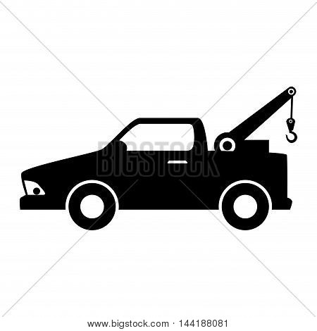 car towing truck tow service vehicle silhouette vector illustration