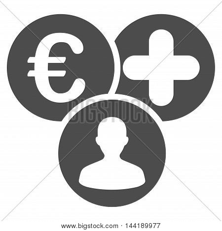 Euro Medical Expences icon. Vector style is flat iconic symbol with rounded angles, gray color, white background.