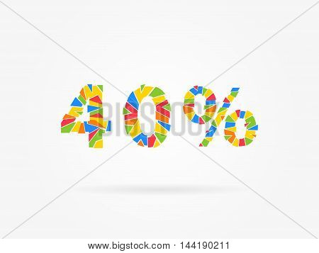 Discount 40 Percent Colorful Vector Illustration