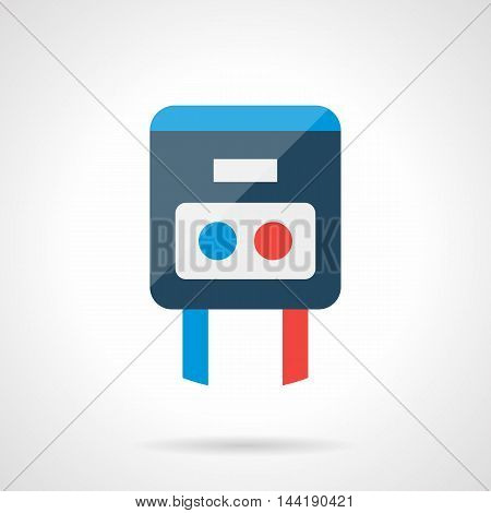 Simple temperature regulator with blue and red buttons or knobs. House climate control, heating system and warm floor element. Modern style flat colored vector icon.