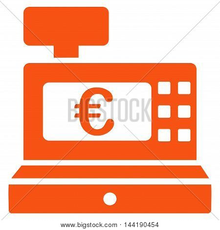 Euro Cashbox icon. Vector style is flat iconic symbol with rounded angles, orange color, white background.