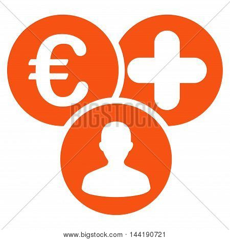Euro Medical Expences icon. Vector style is flat iconic symbol with rounded angles, orange color, white background.