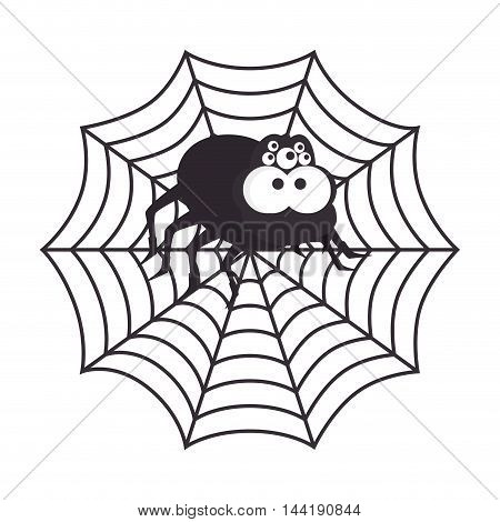 Spyder in cobweb arachnida animal halloween cartoon vector illustration
