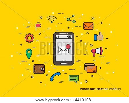 Linear Phone Notification Mail, Call, Message, Note Colorful Vector Illustration