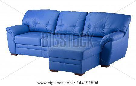 Leather Sofa Isolated On White Background.
