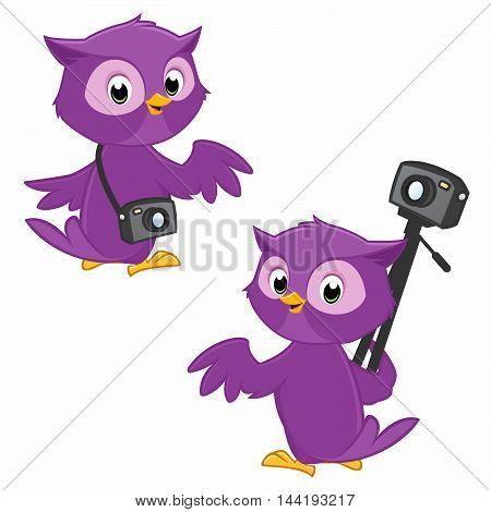 Illustration of turning around owl photographer symbolizing panoramic 360 degree photography
