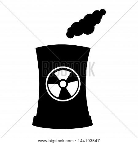 Factory and industry plant equipment nuclear reactor tower vector illustration