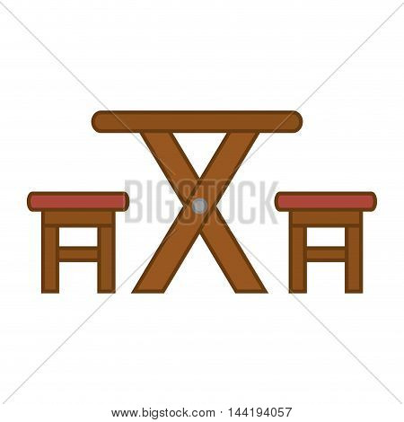camp equipment camping outdoor wooden table and chairs pic nic vector illustration