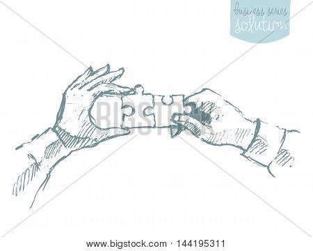 Two hands holding puzzle. Teamwork collaboration concept. Vector illustration sketch