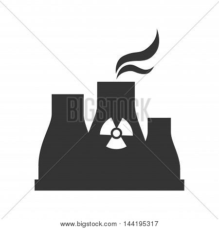 nuclear reactor plant power industry production silhouette vector illustration