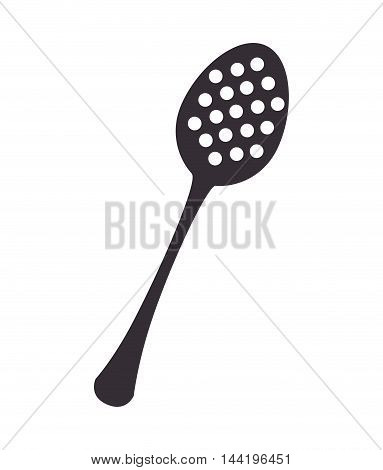 kitchen slotted spoon utensil silverware food silhouette vector illustration