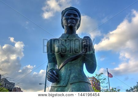 Harriet Tubman Memorial Statue in Harlem New York. Harriet Tubman was an African-American abolitionist and humanitarian during the American Civil War.