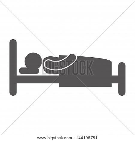 bed man slepping nap bedtime relax silhouette vector illustration