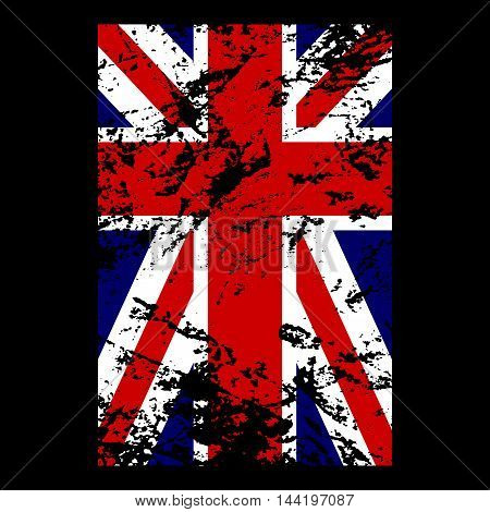 British flag t shirt typography graphics. Blue red white national design isolated on black background. Symbol of England Britain United Kingdom. Template apparel card poster Vector illustration
