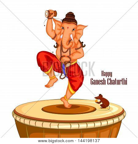 easy to edit vector illustration of Happy Ganesh Chaturthi background with Lord Ganpati dancing on drum