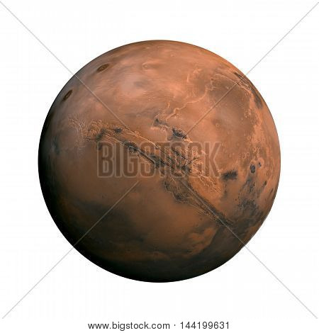 Solar System - Mars. Isolated Planet On White Background.