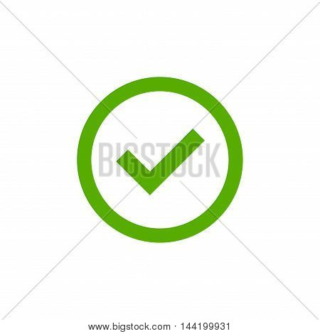 Tick sign element. Green checkmark icon isolated on white background. Simple mark graphic design. Circle shape OK button for vote decision web. Symbol of correct check approved Vector illustration