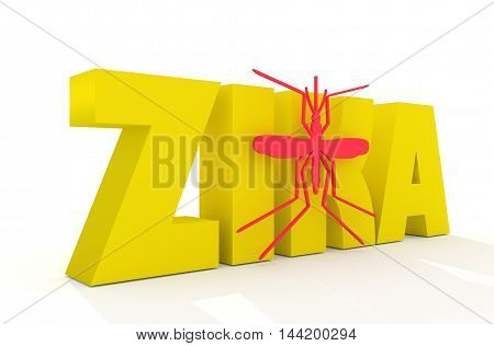 Zika desease text and mosquito icon. Zika virus danger relative illustration. Medical research theme. 3d rendering