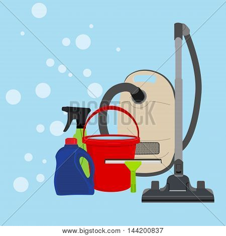Vector illustration cleaning equipment icon set. Housework appliance - bucket vacuum cleaner bottle spray and window squeegee.