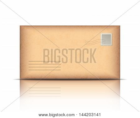 Old envelope, isolated on white background. Vector illustration