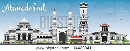 Ahmedabad Skyline with Gray Buildings and Blue Sky. Business Travel and Tourism Concept with Historic Buildings. Image for Presentation Banner Placard and Web Site.