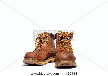 Work boots on white background