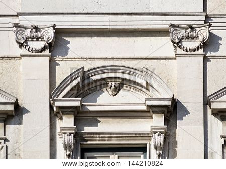 Detail of the neoclassic architecture used on Ribeiro Palace in Lisbon Portugal