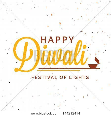 Indian Festival of Lights, Happy Diwali Celebration, Greeting card design, Vector Typographical Background with creative Lit Lamp.