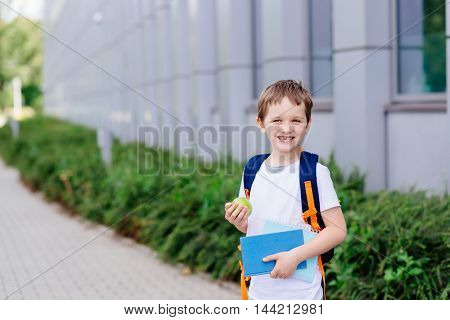 Happy Little 7 Years Old Boy At His First Day At School