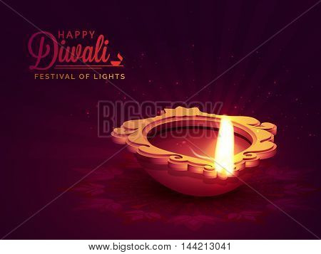 Indian Festival of Lights, Happy Diwali Celebration with Illuminated Oil Earthen Lamp on floral Rangoli decorated, glossy rays background.
