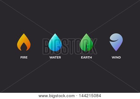 Nature elements. Water, Fire, Earth, Air. Design elements on dark background. Templates for renewable energy or ecology logos, emblems or cards. Alternative energy sources