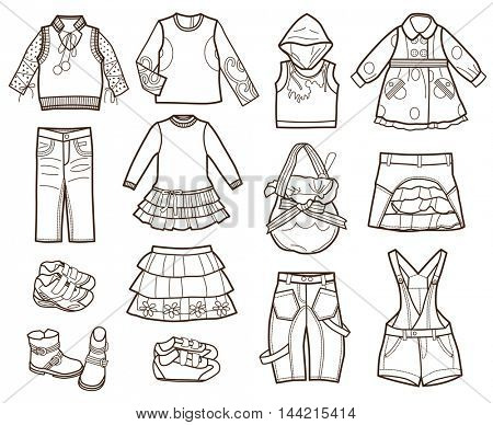 collection of children's clothes isolated on white background (coloring book)