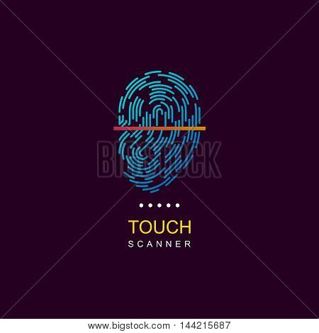 Fingerprint scanner. Vector fingerprint logo. ID Fingerprint icon.