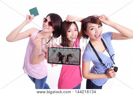 Happy teenagers woman hold camera and passport and taking pictures by themselves isolated on white background asian