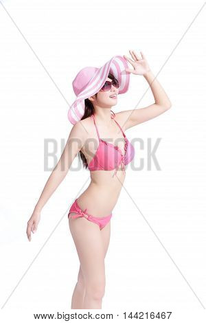 beauty woman wear bikini and look somewgere happily with isolated white background asian