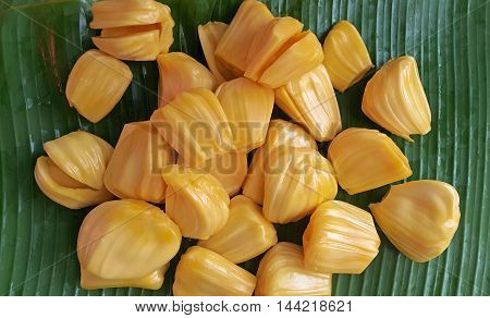 jackfruit on banana leaf food yellow nature